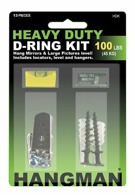 Hangman HDK Heavy Duty D-Ring Picture and Mirror Hanging Kit up to 100lbs (45kg)