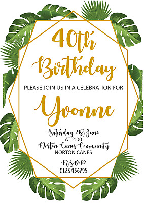 Personalised Birthday Invitations 21st 30th 40th 50th 60th 70th Floral Gold