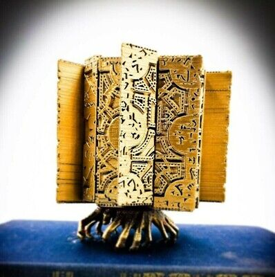 Gold Hellraiser Inspired Puzzle Box Prop Replica With Hand Display Stand custom