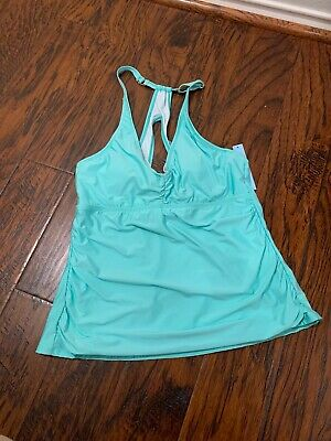 2c6dd7d0eaf8a Antonio Melani Sea Green Large Ruched Sides Tankini Top Padded Underwire