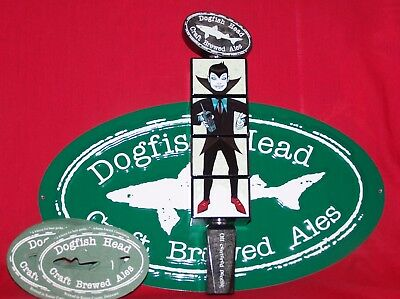 ONE NEW IN BOX RARE 2012 DOGFISH HEAD UBER TAP HANDLE w/50 COASTERS SIGN & STAND