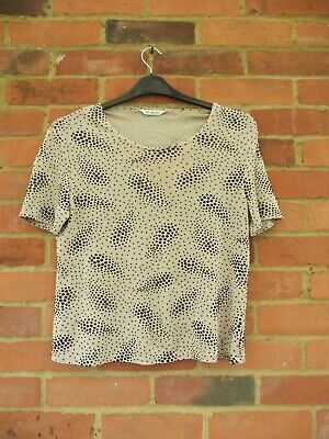 Berkertex Beige Black Sparkly Short Sleeve Top, Size 14 Casual Spring Summer Wor
