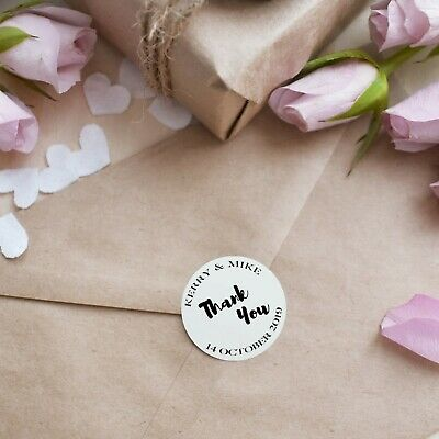 Personalised Stickers Thank You Quality Glossy White Wedding Stickers, Labels