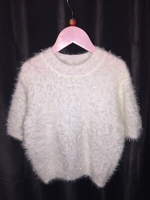 Little Girls CANDY COUTURE Matalan White Sparkle Short Sleeve Jumper Top NEW