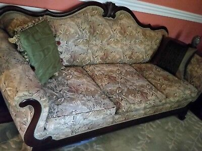 Victorian Sofa Couch Duncan Phyfe Newly Reupholstered Gorgeous! Antique
