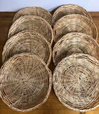 "Vintage Wicker Rattan Paper Plate Holders 9.5"" Lot Of 8 Great for Picnic Dining"