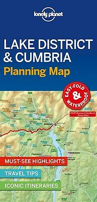 Lonely Planet Lake District & Cumbria Planning Map *FREE SHIPPING - NEW*