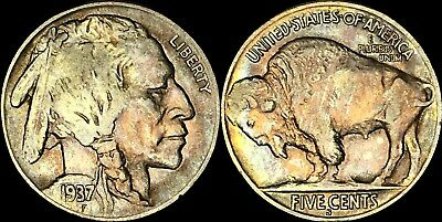 1937-S Buffalo Indian Head Nickel Five Cents Good Date  Color Toned Coin