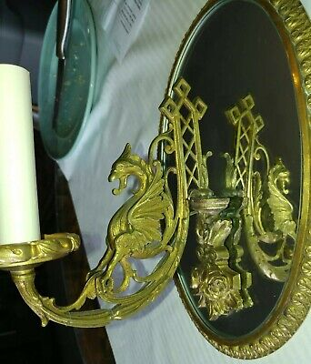 """Vintage Brass Empire Style Mirrored Wall Sconces Winged Griffin / Dragon 11 1/4"""""""