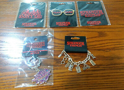NEW Stranger Things Loungefly Lot: 3 Patches / Arcade Keychain / Charm Bracelet