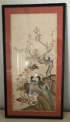 Large Vintage Antique Asian Japanese? Chinese? Birds Woodblock Print Signed