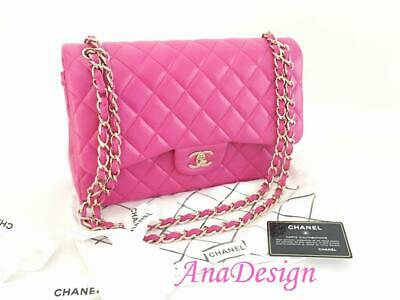 da216fc721602a Chanel Classic Jumbo Hot Pink Lambskin Double Flap Bag GHW w Authenticity  Cert