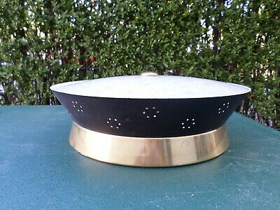 Vintage Harmony House Mid Century Black & Gold Eames Ufo Saucer Ceiling Light