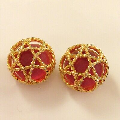 6a42586ac64 Paolo Gucci Clip Earrings Rope Cage Star Of David Pink Stone Gold Plate