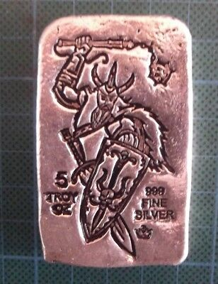 5 Troy Ounce, MPM, Viking with Flail Silver Bullion Bar, with .999 Fine.