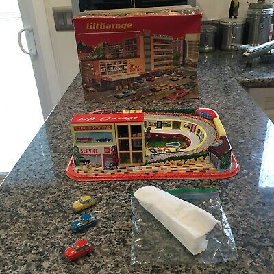 1964 Technofix Nr. 308 Lift Garage With All Car And Box. Fully Working!! Sweet!!