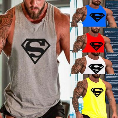 Men Cool Gym Muscle Bodybuilding Sleeveless T-shirt Tank Tops Fitness Sport Vest