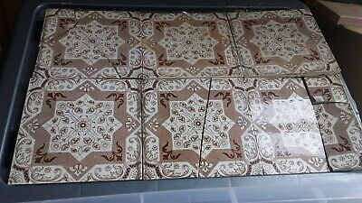 Ceramic 6 tile set.Vintage authentic tiles from early 20th century wash stand.