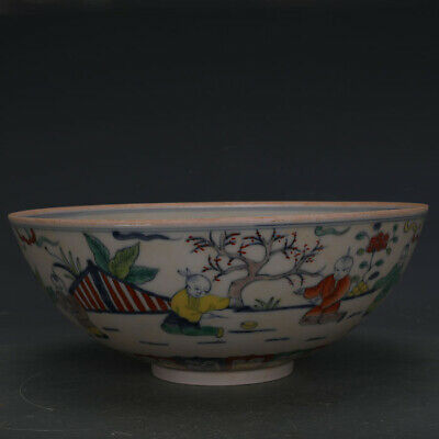 "11"" Chinese old antique Porcelain Ming chenghua mark doucai Children bowl"
