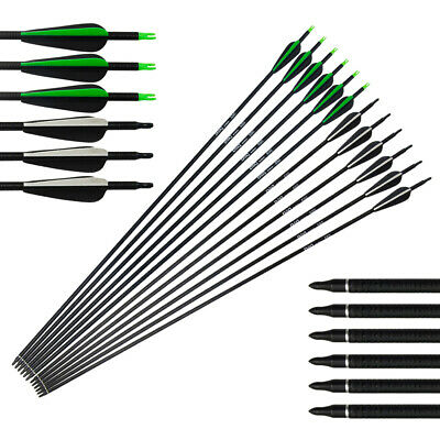 12pcs Fiberglass Arrows Hunting Archery Target Arrows Recurve Bow Longbow