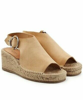 061817e014 Rag & Bone Calla Beige Suede Wedge Sandals Open Toe Size 40 New Without Box