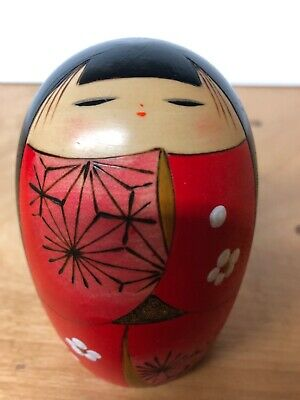 Vintage Japanese Kokeshi Doll Wooden Hand Painted Red Flower Geisha Signed 4.5""