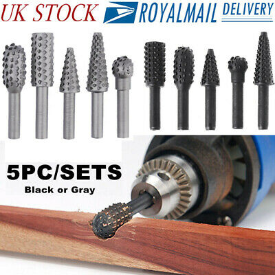 6mm Shank 5 Piece Rotary Burr Wood Surface File Bit Set Rasp Drill Bits