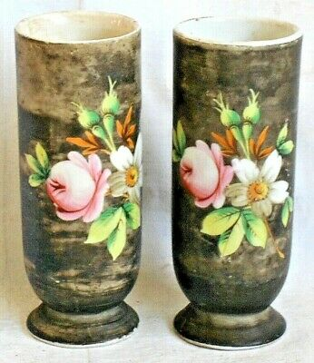 Pair Of C19Th German Hand Painted Ceramic Spill Vases Decorated With Flowers