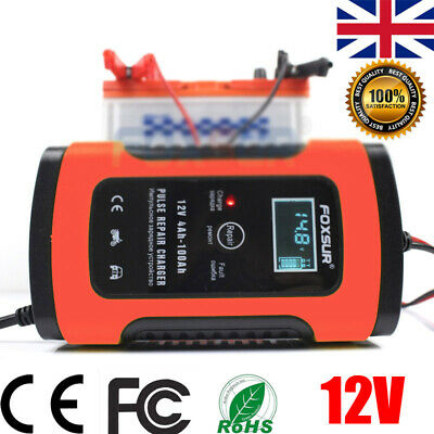 12V 5A Automatic Smart Car Battery Charger LCD Display Auto Pulse Repair AGM GEL