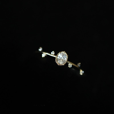 14K Solid Gold Ring Branch gold leaf stacking Crystal Dainty Victorian Ring