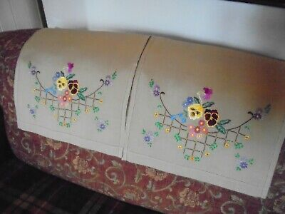 A Pair Of Vintage/Antique Hand Embroidered Chair Backs - Floral Design