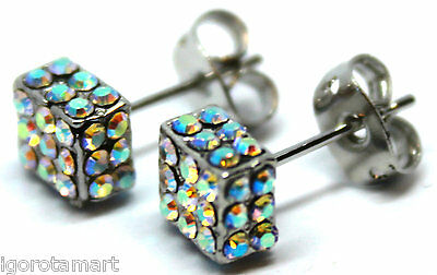 AB Crystal Iced Square Studs Earrings Bling