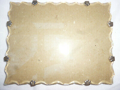 ART DECO SCALLOPED EDGE PLATE GLASS PICTURE FRAME 19cm by 24cm - vg cond