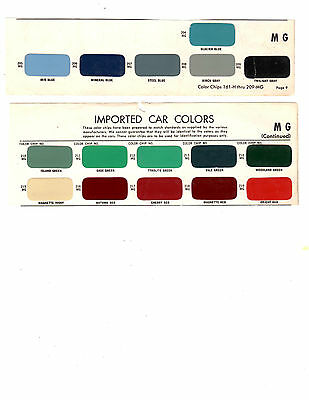 1956 1957 1958 1959 1960 1961 1962 1963 1964 To 1968 Mg Magnette Paint Chips Ms4