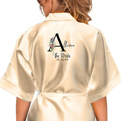 Personalised Satin Robe. Bridal Wedding Party Alphabet Floral Gifts For Her