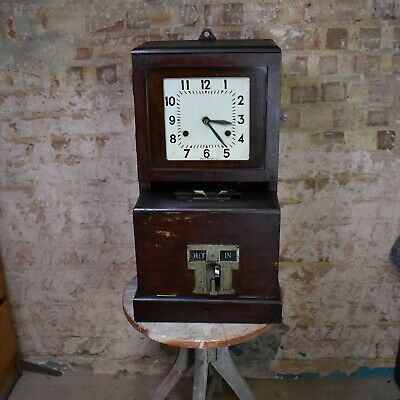 Antique Art Deco Time Recorder Company Clock In Clock Out British With Key