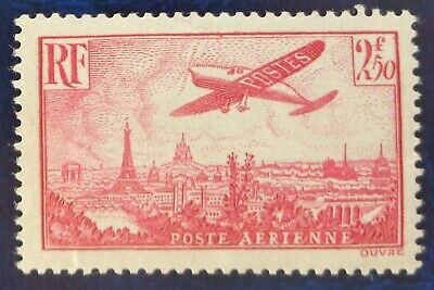 France neuf, poste aérienne n°11, 2F50 rose, Avion survolant Paris, 1936, N*
