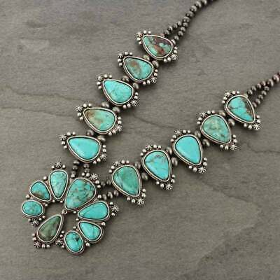 *NWT* Natural Squash Blossom Turquoise Necklace 7310360089