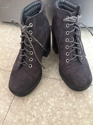 Girls New Look Heel Ankle Boots Size 3 Brown VGC