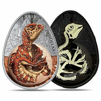 Canada 2019 Hatching Hadrosaur Glow In The Dark $20 Dinosaur Egg Silver Coin NEW