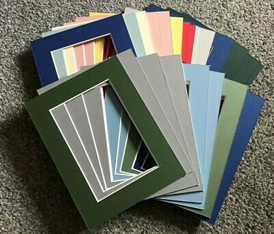 """25 Assorted Colours Photo Frame Mounts 8x6"""" Overall for 6x4 inch Picture Crafts"""