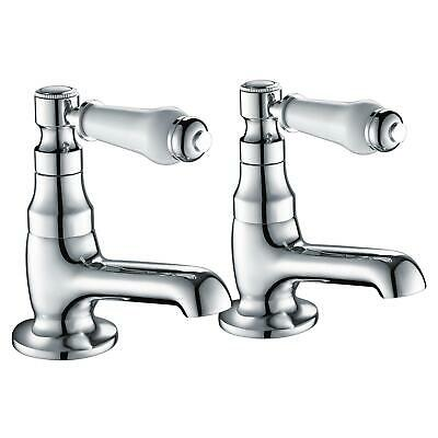 Traditional Bathroom Twin Ceramic Handles Basin Sink Hot Cold Chrome White