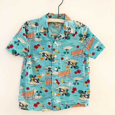 e1dc7a54 Disney Mickey Mouse Kids Hawaiian Shirt Blue Floral Greetings Hawaii Size 3T