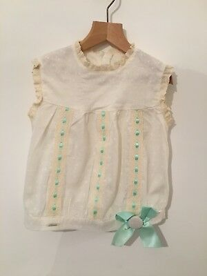 Miranda Girls Cream & Mint Green Sleeveless Lace And Bow Detail Top Age 8