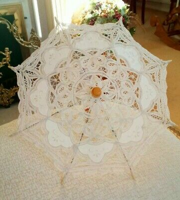 Beautiful Small Cream Ivory cotton Lace Parasol wood and metal frame and handle