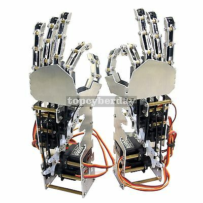5DOF Humanoid Fingers Metal Manipulator Robot Arm Left+Right Hand+Servos DIY
