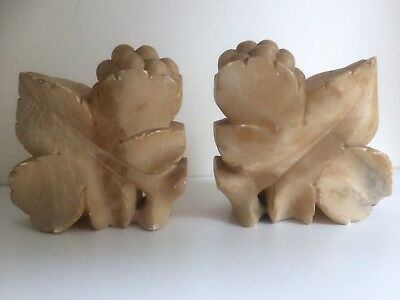 Pair of Early 20th Century Carved Alabaster Book Ends