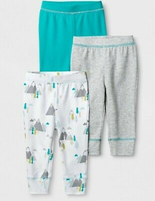 Cloud Island Baby Boys' 3 Pack Pants - Gray Aqua Size 6-9 Month