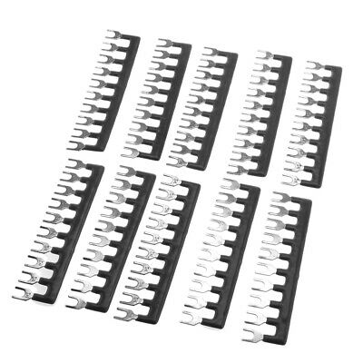 Fork 10 Postions Pre Insulated Terminal Strip Block Red 10 Pcs Black