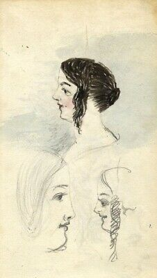 Edward Fitzgerald Campbell, Young Girl with Ringlets - 19th-century watercolour